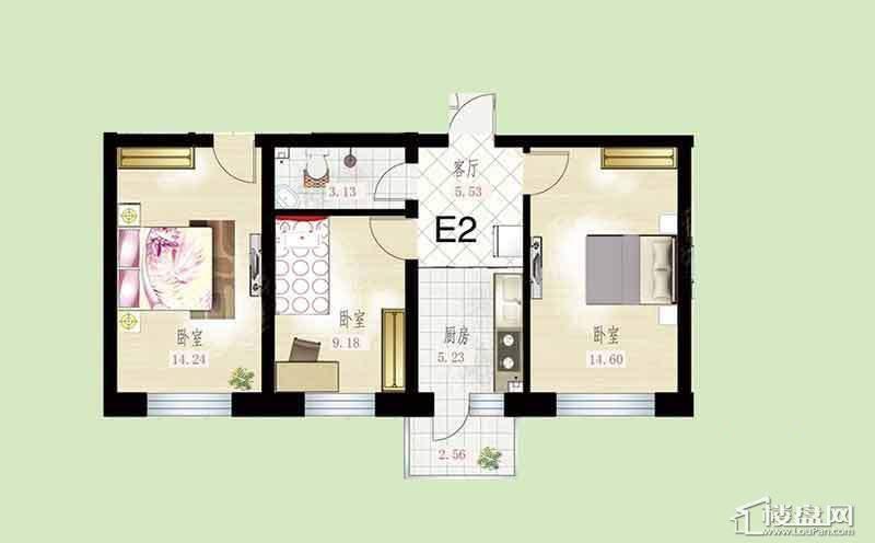 悦然佳境E2户型图2室1厅1卫1厨