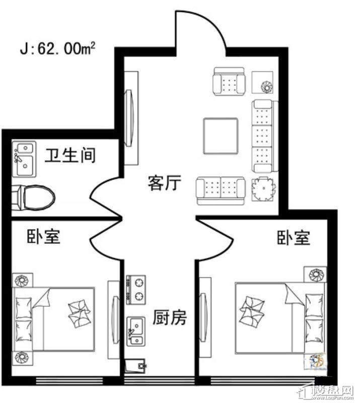 格林雅居B户型2室1厅1卫1厨