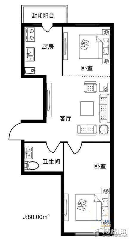 格林雅居C户型2室1厅1卫1厨