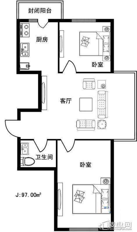 格林雅居D户型2室1厅1卫1厨