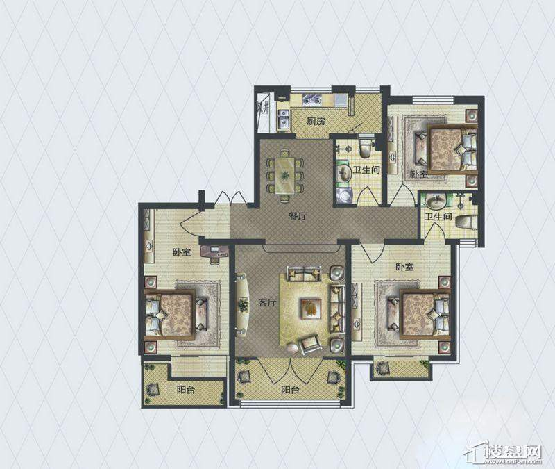 福顺尚景2号楼1单元A户型3室2厅2卫1厨