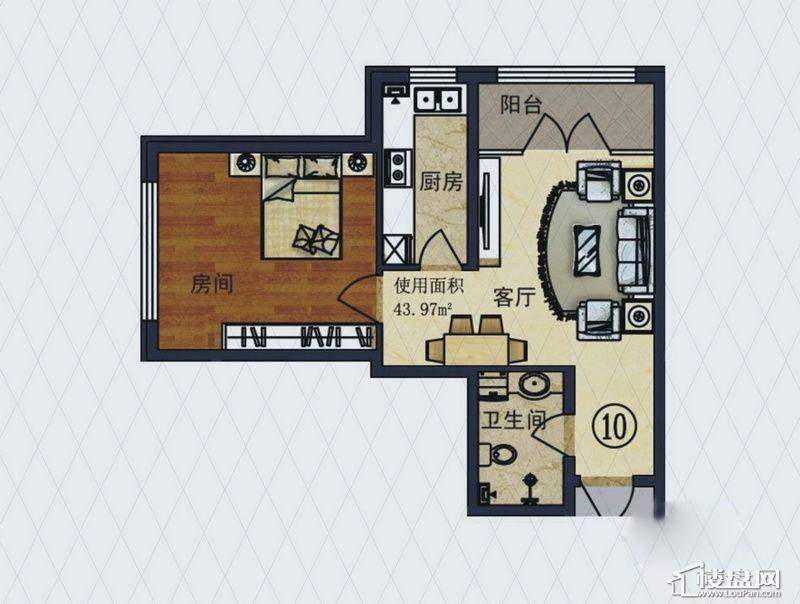 福顺尚景2号楼1单元B户型1室1厅1卫1厨