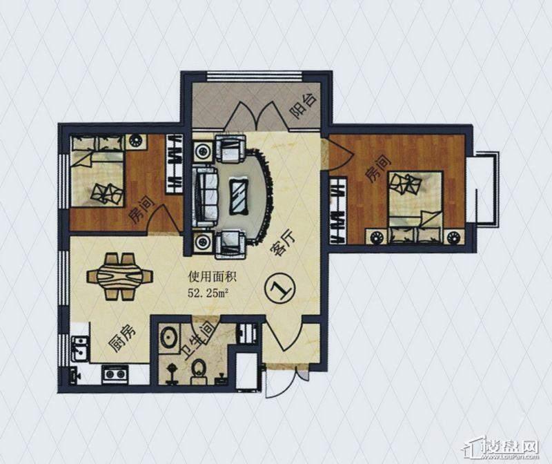福顺尚景2号楼1单元D户型2室2厅1卫1厨
