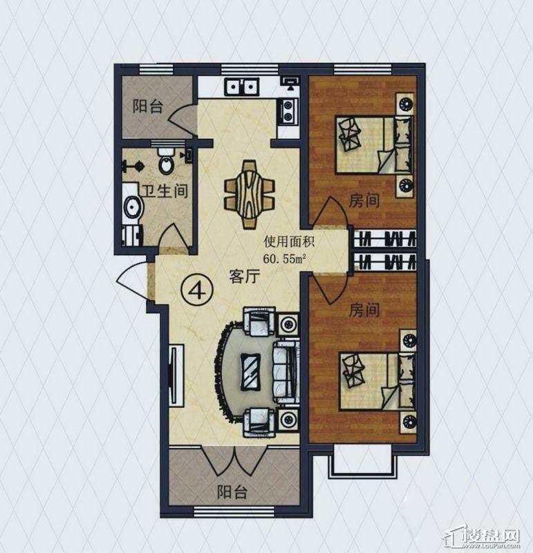 福顺尚景2号楼1单元F户型2室2厅1卫1厨