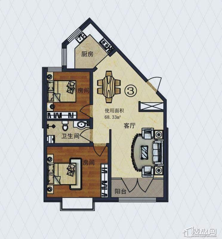 福顺尚景2号楼1单元G户型2室2厅1卫1厨