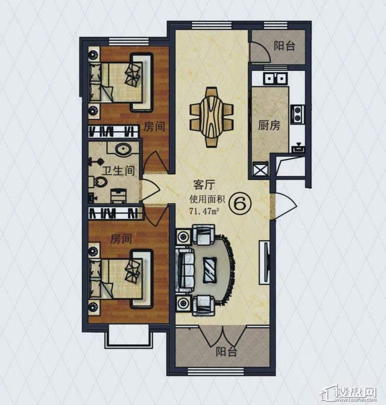福顺尚景2号楼1单元H户型2室2厅1卫1厨