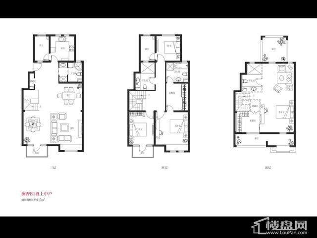 B1户型4室2厅4卫 215.00㎡
