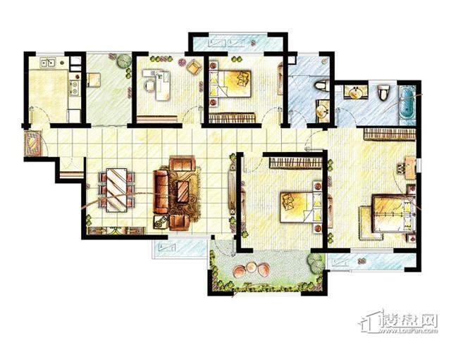 滟澜时光空中别墅瞰湖D3户型图3室2厅2卫 141.00㎡