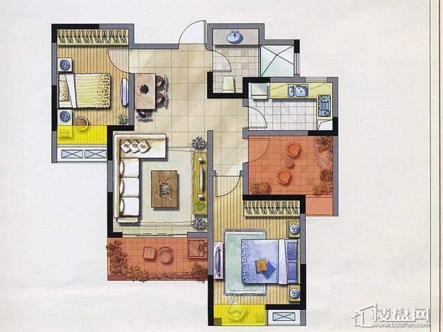 绿地波士顿公馆3期绿地1、2号楼户型GB173室2厅1卫 112.94㎡