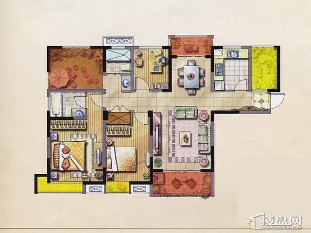 绿地波士顿公绿地波士顿公馆3期绿地1、2号楼户型GC93室2厅2卫 125.90㎡馆户型图