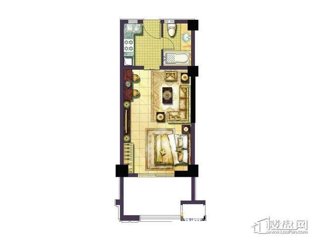 绿地波士顿公馆54平单身公寓户型图1室1厅1卫1厨 54.00㎡