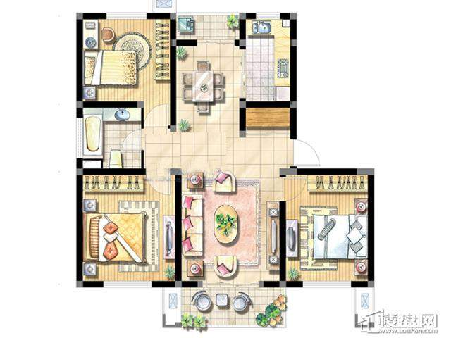 绿地波士顿公馆DC63室2厅1卫 104.00㎡