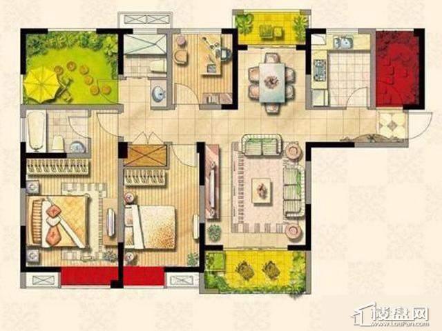 绿地波士顿公馆二期11号楼GC9户型3室2厅2卫 126.00㎡