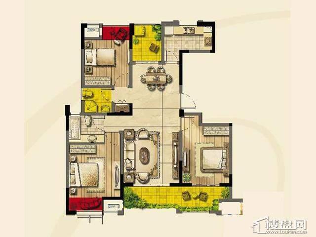 绿地波士顿公馆二期11号楼GC11户型3室2厅1卫1厨 111.00㎡