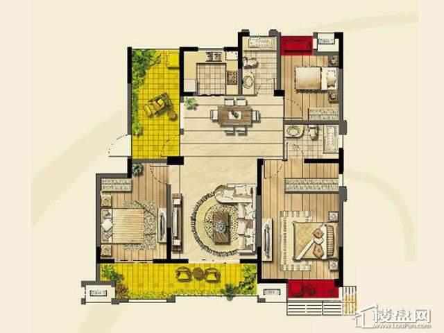 绿地波士顿公馆二期11号楼GC12户型3室2厅2卫1厨 127.00㎡