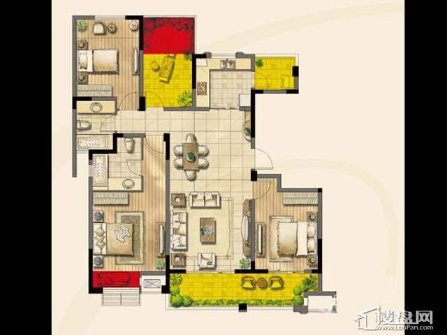 绿地波士顿公馆二期11号楼GC15户型3室2厅2卫1厨 136.00㎡