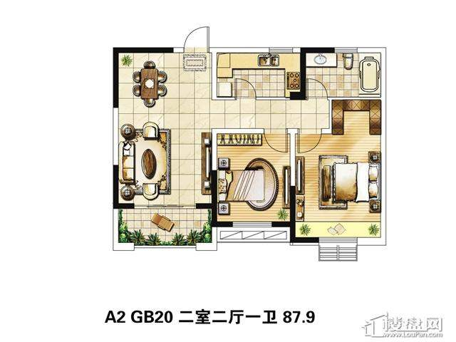 绿地波士顿公馆三期观景高层GB20户型2室2厅1卫 87.90㎡