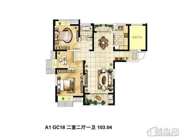 绿地波士顿公馆三期观景高层GC18户型2室2厅1卫 103.04㎡