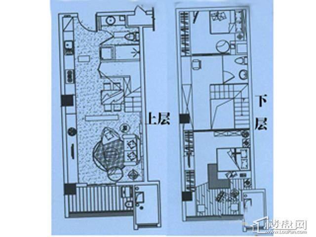 香格梅里公馆B户型2室2厅2卫1厨 65.00㎡