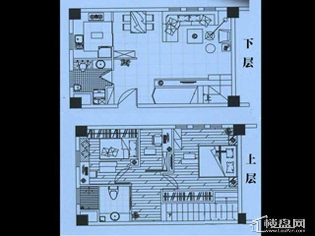 香格梅里公馆C户型2室2厅2卫1厨 65.00㎡
