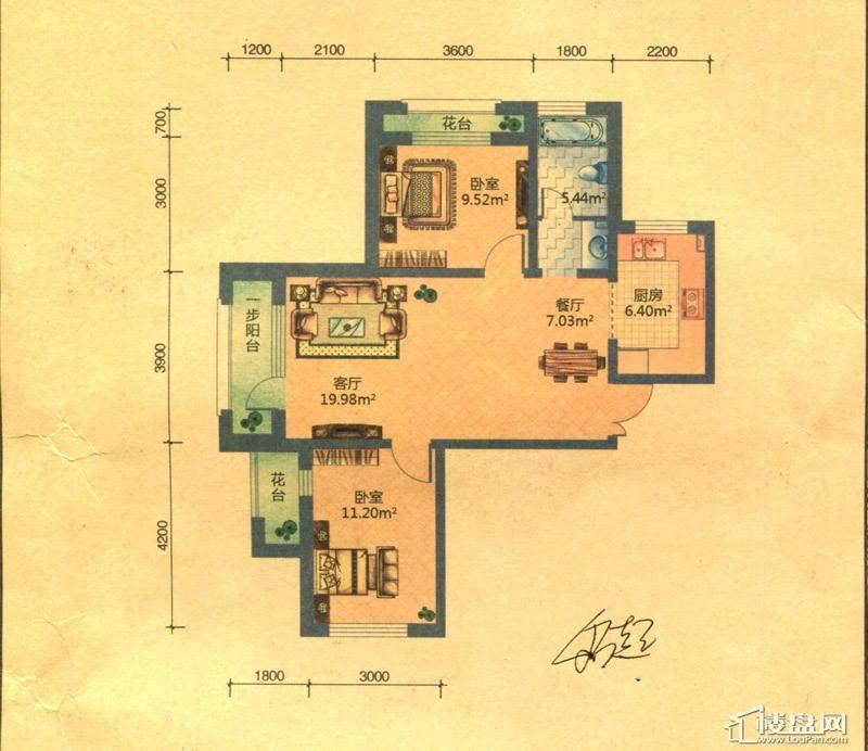 地恒 托斯卡纳D4户型2室2厅1卫1厨