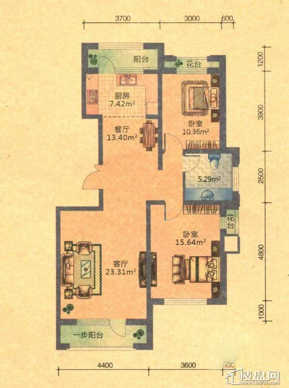 地恒 托斯卡纳D9户型2室1卫1厨