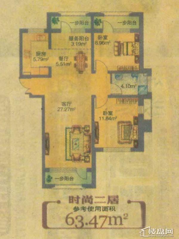 地恒 托斯卡纳二室户型2室2厅1卫1厨