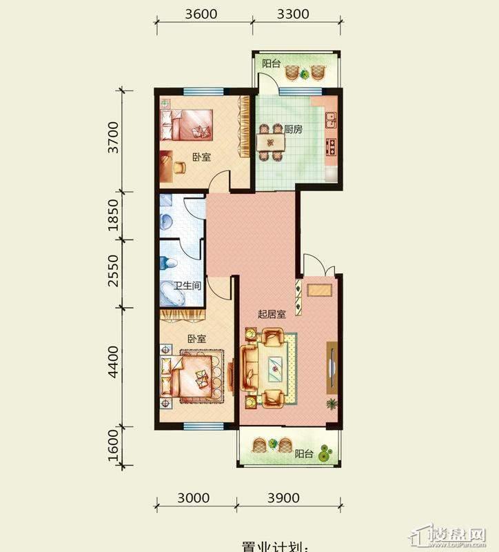 天悦国际M1D、B户型2室1厅1卫1厨