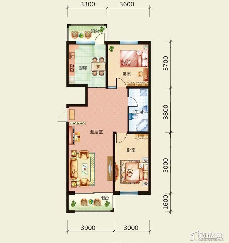天悦国际M1E、D户型2室2厅2卫1厨