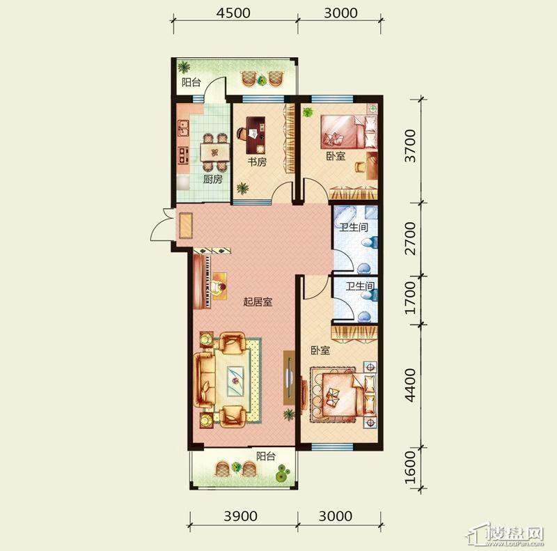 天悦国际M1户型A81.242室1厅2卫1厨