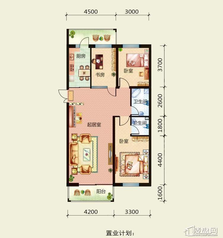 天悦国际M2户型G2室1厅1卫1厨