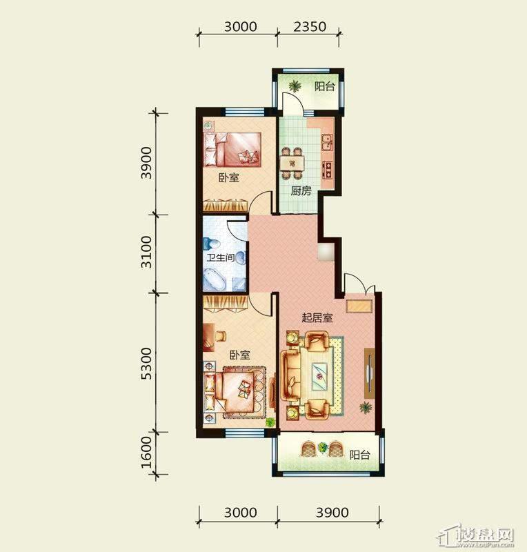 天悦国际M3F户型2室1厅1卫1厨