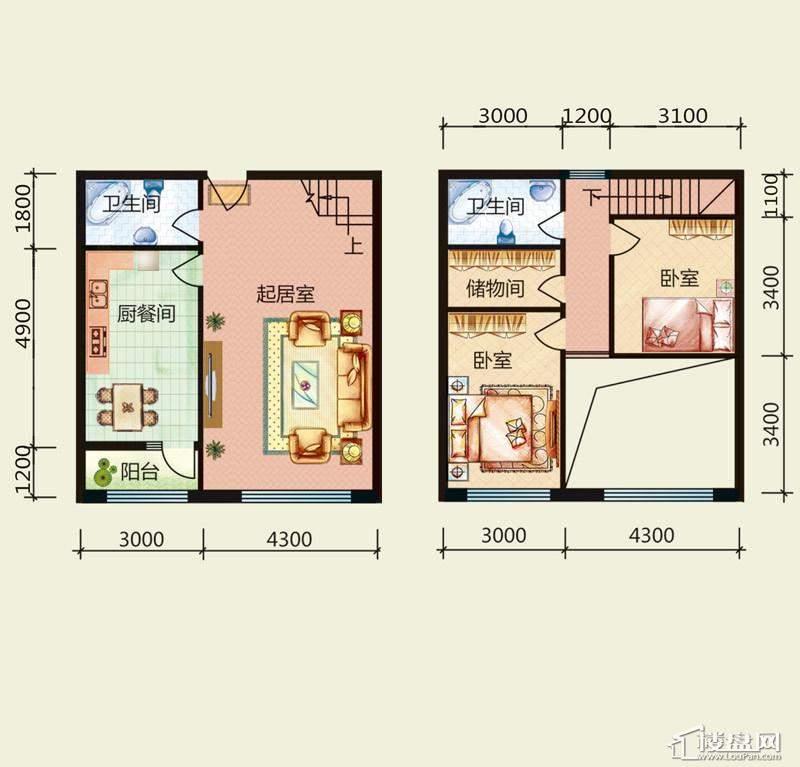 天悦国际M4户型Cloft2室1厅2卫1厨