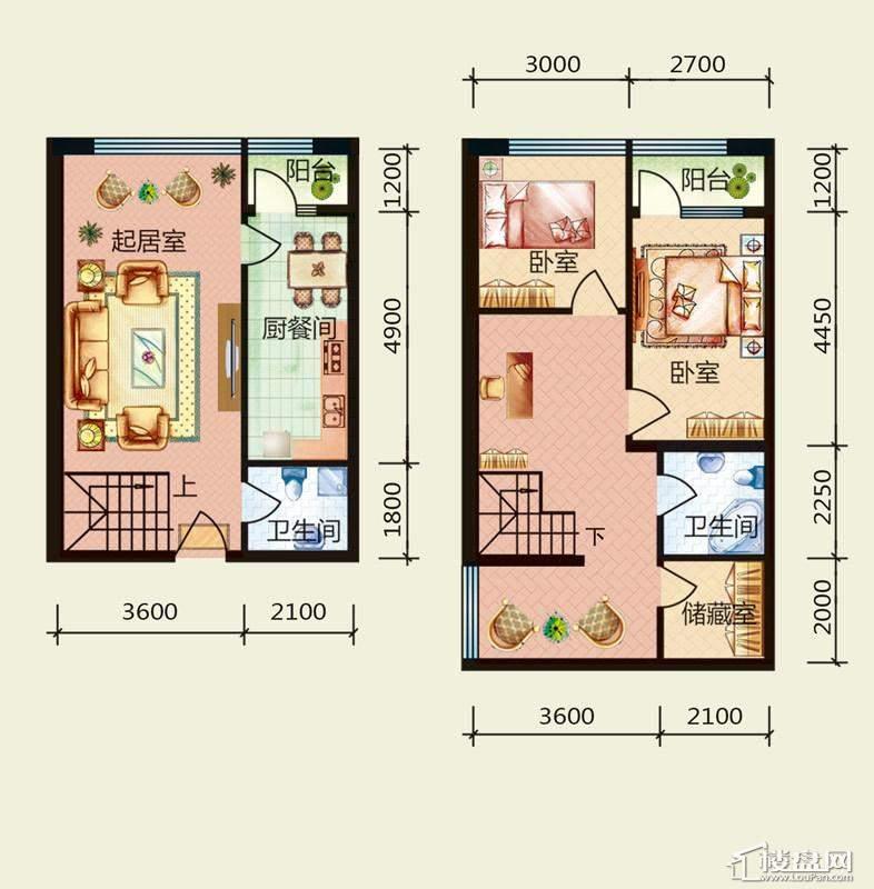 天悦国际M5-1D、A户型loft2室2厅2卫1厨