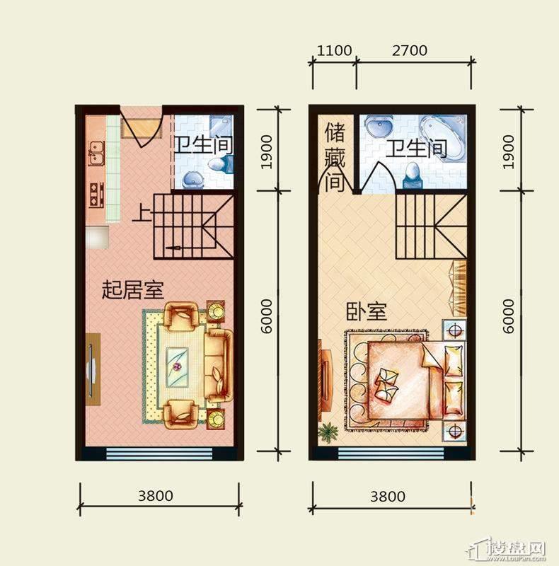 天悦国际M5-1loftA、B户型1室1厅2卫1厨