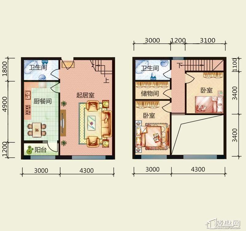 天悦国际M5-1loftD、A户型2室2厅2卫1厨