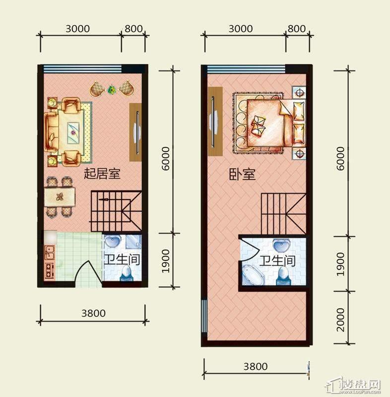 天悦国际M5-1loftE户型1室1厅2卫1厨