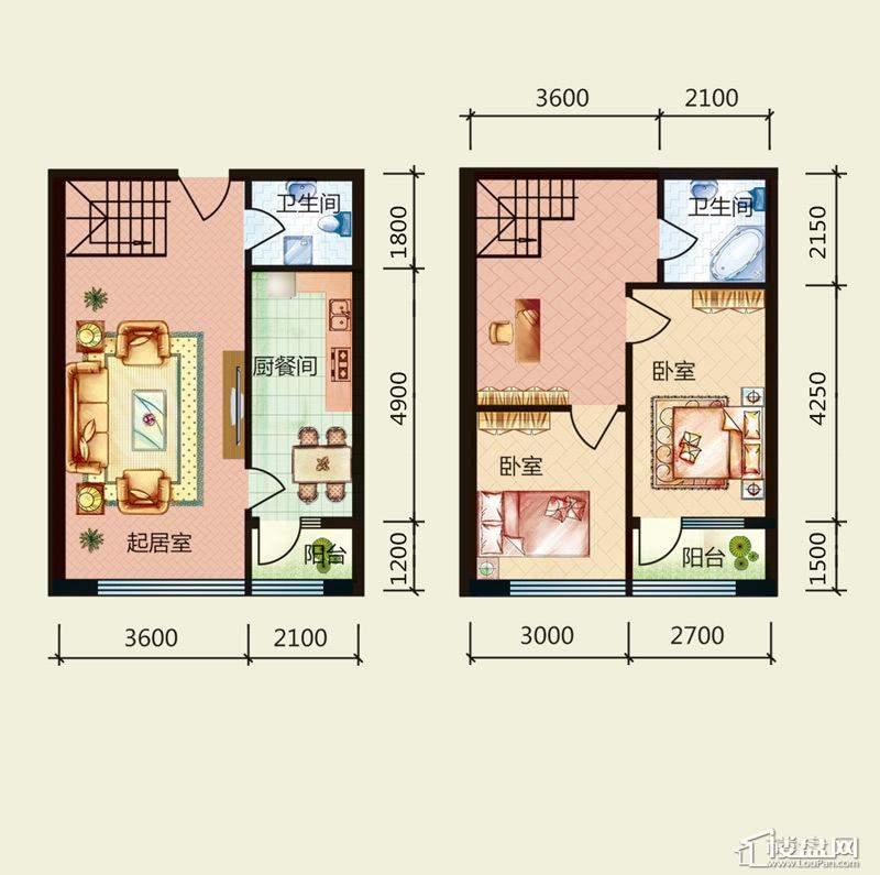 天悦国际M5-1loft户型C2室2厅2卫1厨