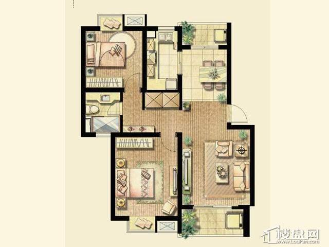 A户型(已售完)2室2厅1卫 88.98㎡