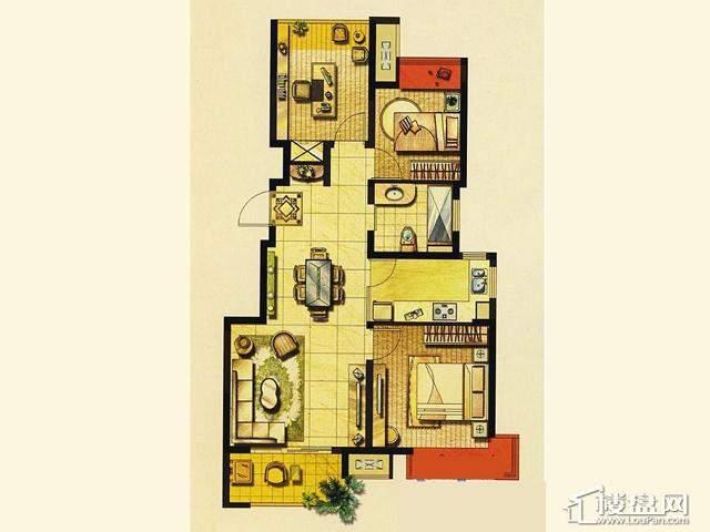二期A1户型 3室2厅1卫 89.42㎡
