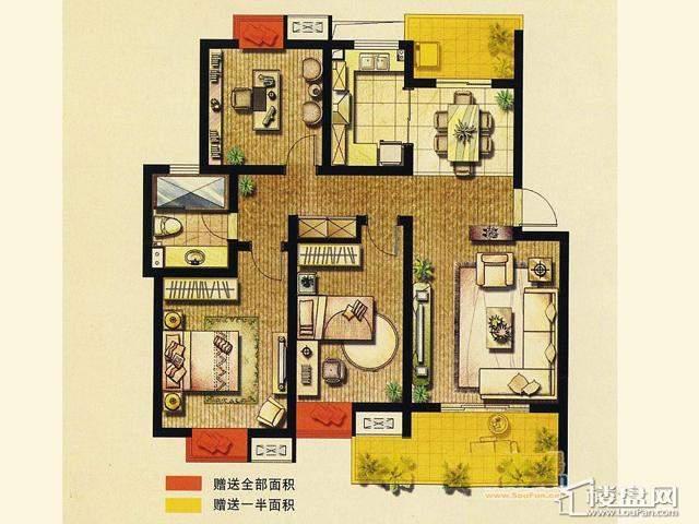 二期B1户型 3室2厅1卫 110.83㎡