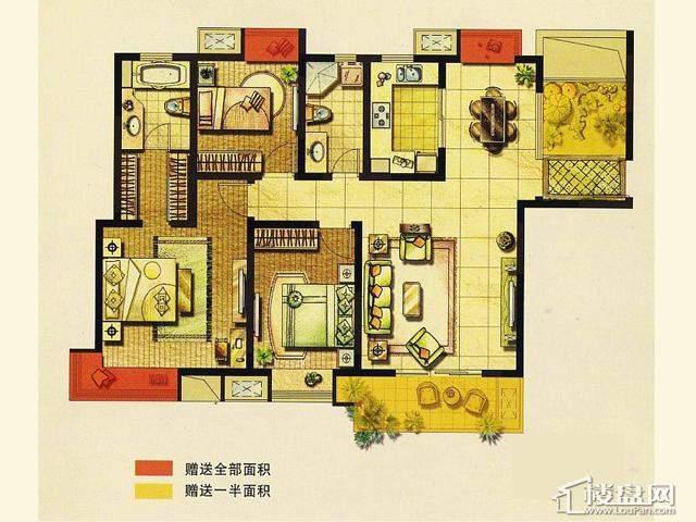 二期D户型 3室2厅2卫 130.00㎡