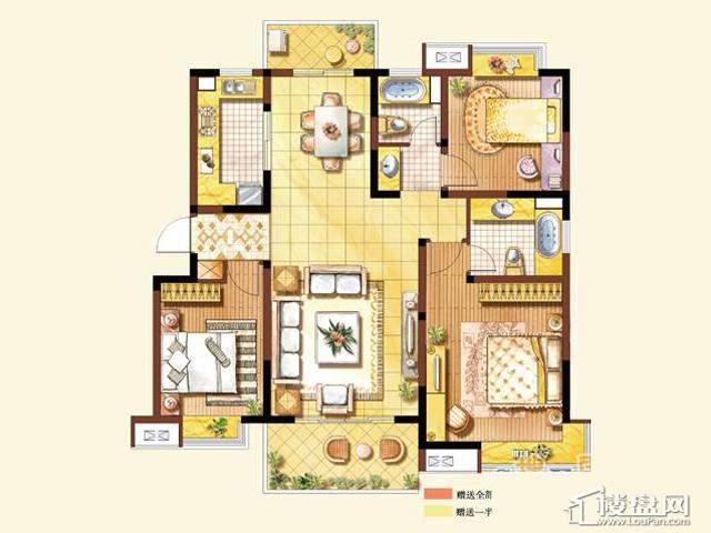 B1户型3室2厅2卫 125.00㎡