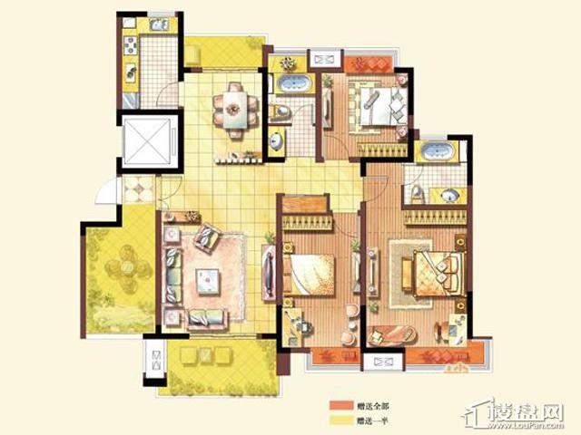 C1户型3室2厅2卫 143.00㎡