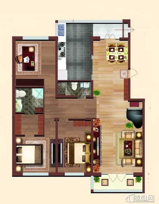 小高层 2# 户型3室2厅2卫1厨