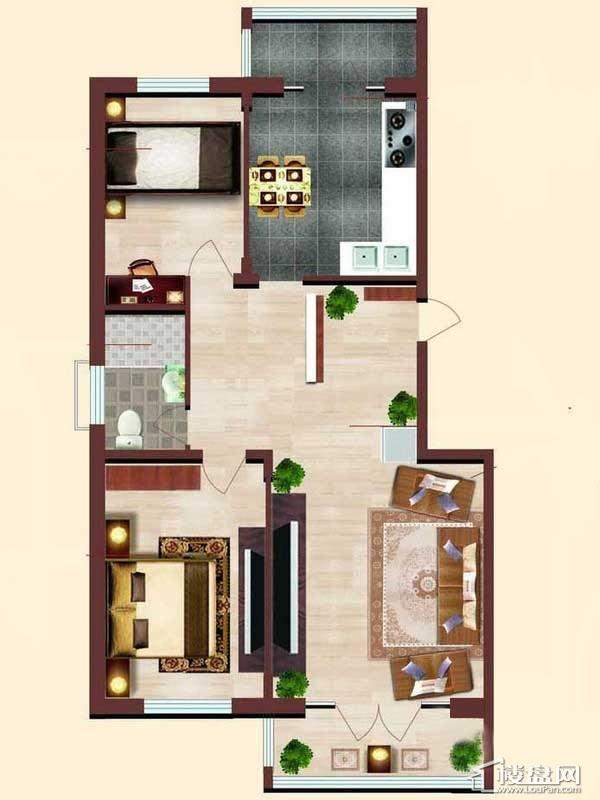 小高层 3# 户型2室2厅2卫1厨
