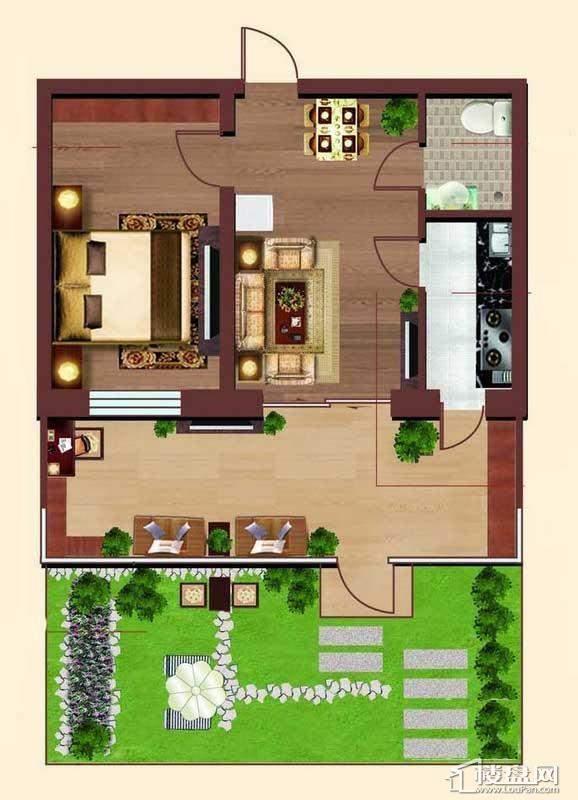 多层 6、7#户型1室1厅1卫1厨