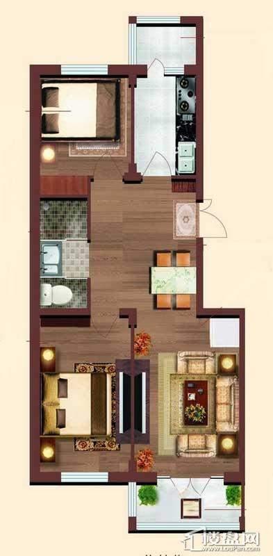 小高层 1# 户型2室1厅1卫1厨