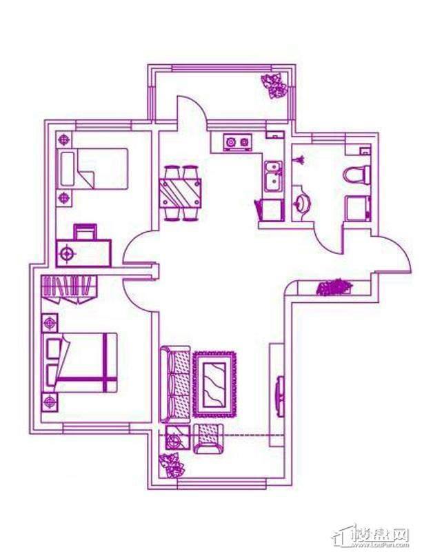 观筑 锦绣华城户型图H-a户型图2室2厅1卫1厨