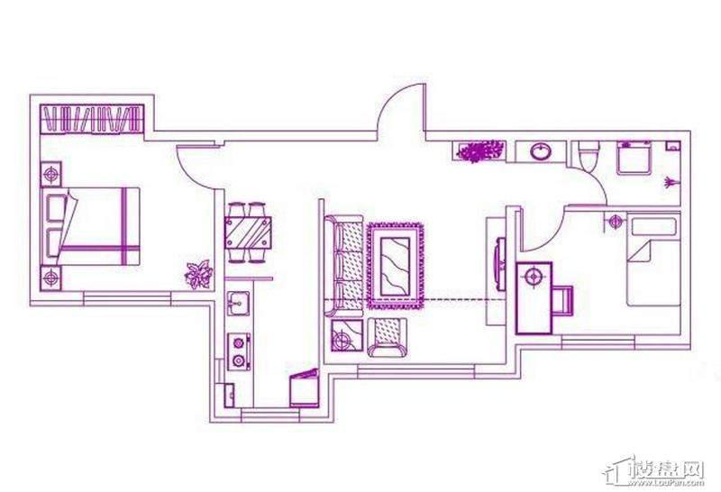 观筑 锦绣华城户型图H-b户型图2室2厅1卫1厨